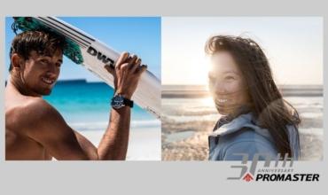 Surfer Leon Glatzer und Kitesurferin Sabrina Lutz tragen Citizen Promaster Uhren